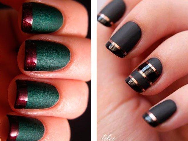 Ногти дизайн тёмные тона