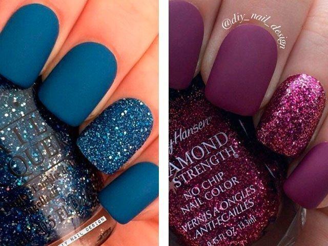 Матовые ногти дизайн синие