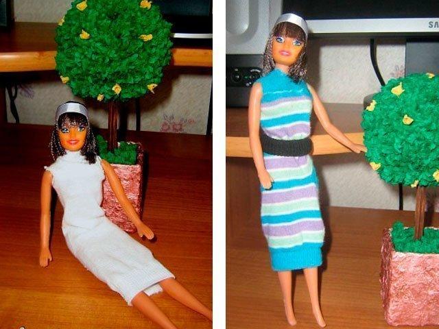 Платье для куклы из носков своими