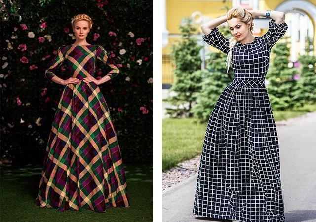 Аксессуары для платья с клетчатой
