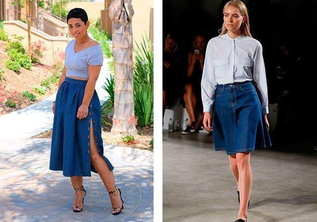 Джинсовые юбки комбинированные фото