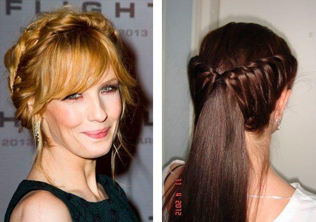 Плетение на средние волосы с чёлкой фото