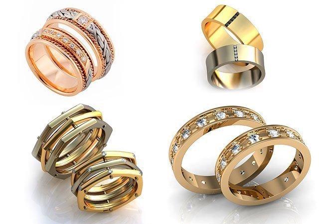 Золотые классические обручальные кольца