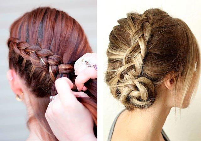 Косы на средние волосы на каждый день фото пошагово