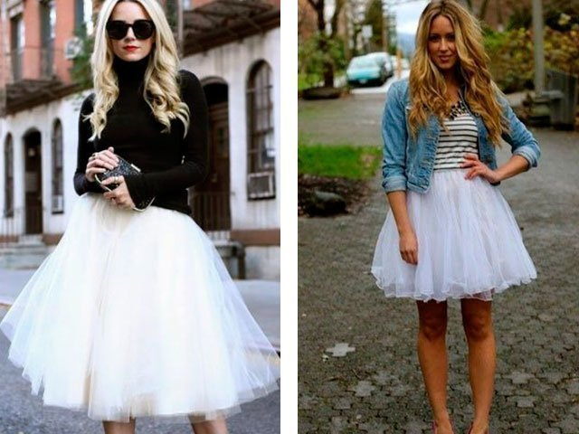 Пышная белая юбка из фатина