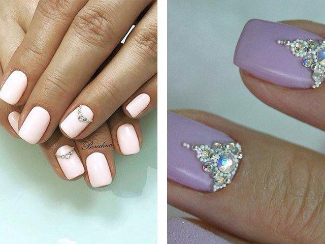 Дизайн ногтей бульонками и стразами фото