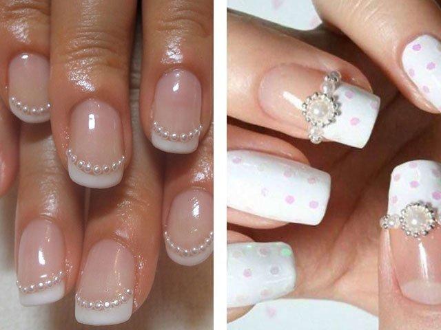 Дизайн ногтей с жемчужинками