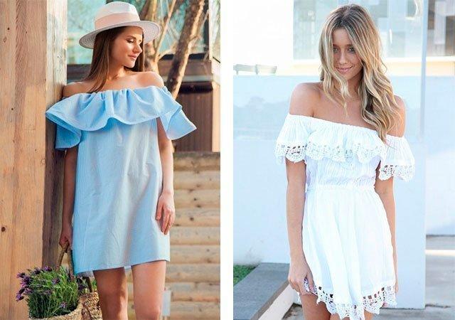 Фасон летнего платья с воланом