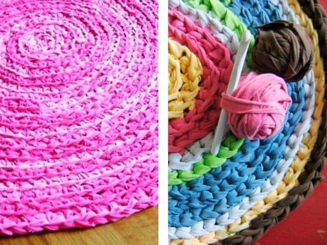 Вязание прямоугольных ковриков крючком для начинающих из тряпок 2523