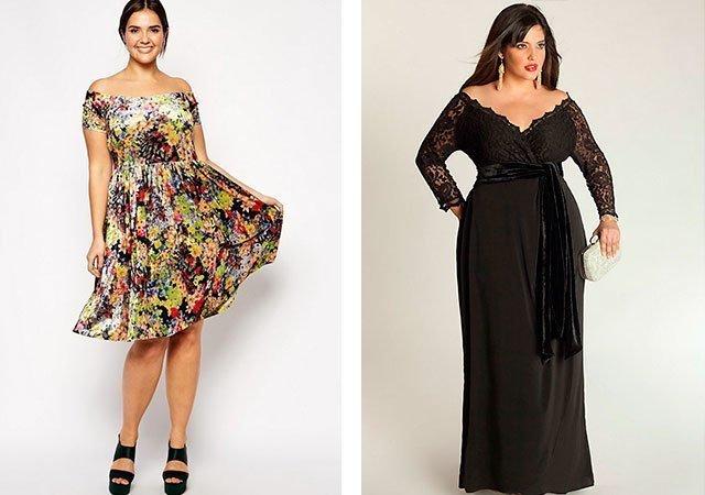 Платья с открытыми плечами для полных