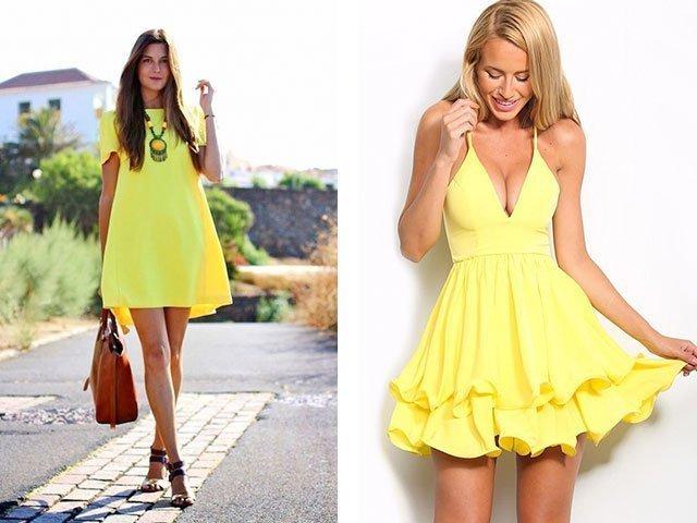 Желтое платье короткое эротичное фото 483-750