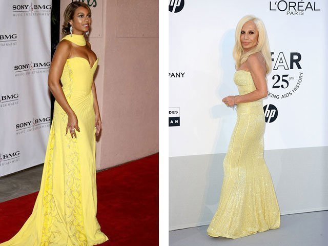Платья звезд на желтым платьем