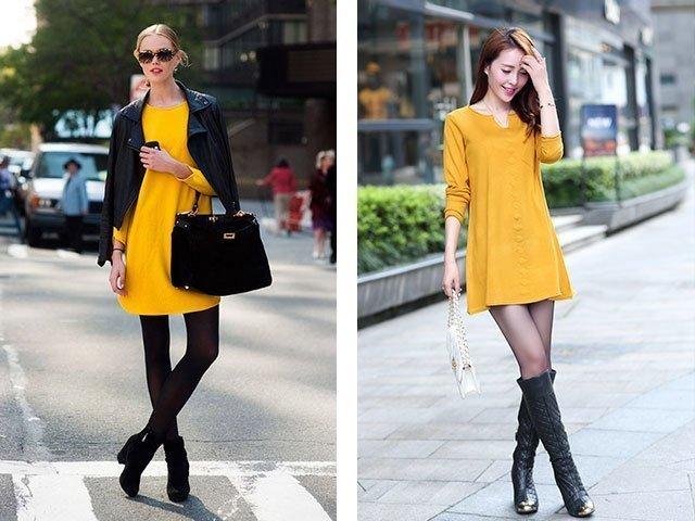 Что сочетается с желтым платьем