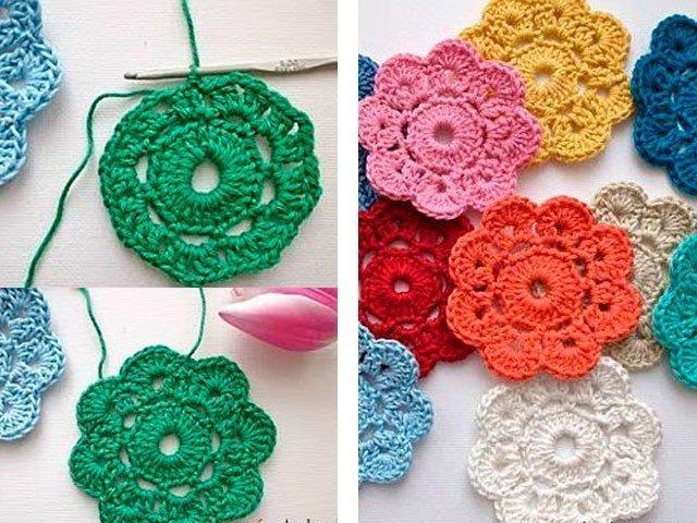 Пошаговое вязание крючком для начинающих цветочки 46