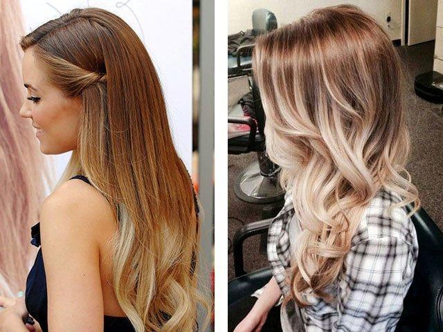 Балаяж волос фото до и после на темные
