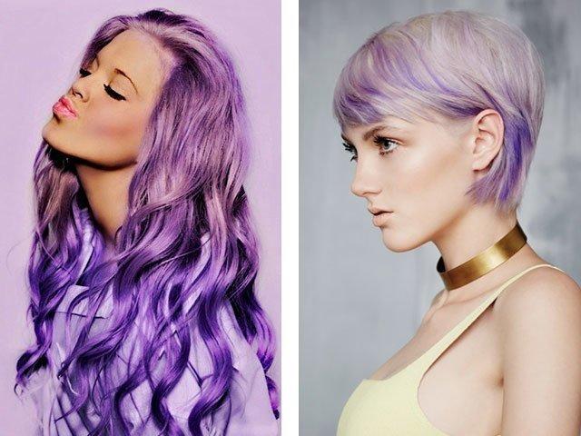 Красить темные волосы в фиолетовый