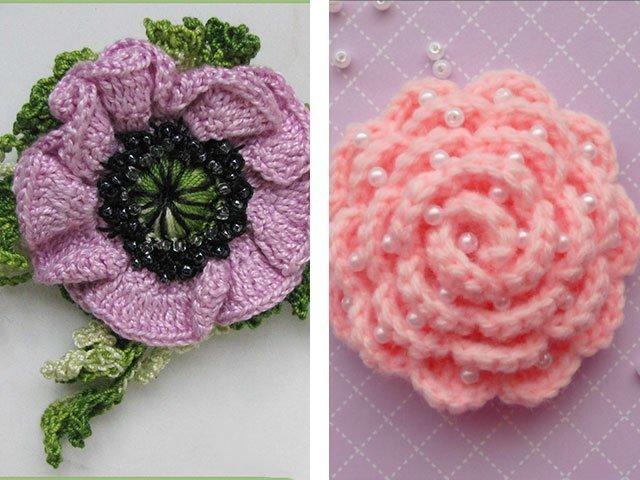 Объемные цветы крючком схема и описание