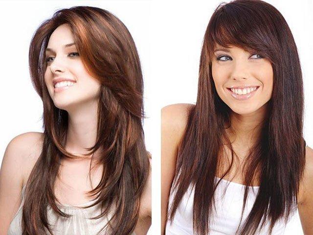 Стрижка для круглого лица с челкой на длинные волосы фото