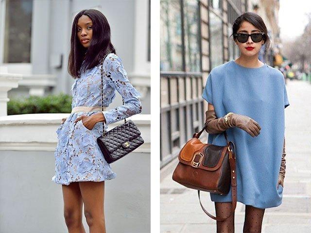С какой обувью одеть голубое платье
