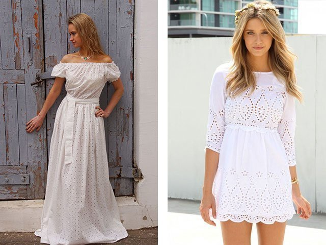 Вязаные летние белая платье