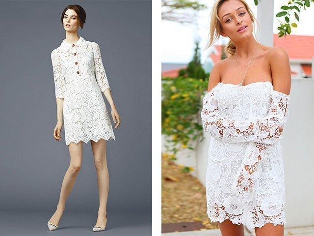 Короткое гипюр белое платье