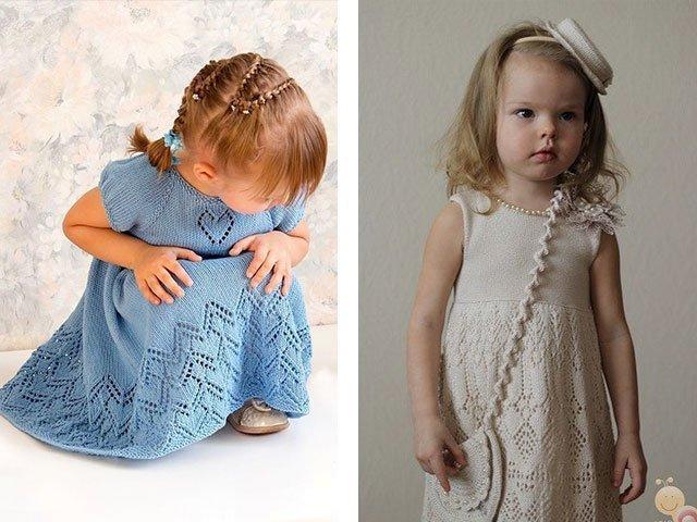 Платье девочке спицами крючком