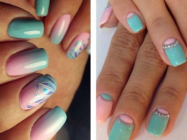 Дизайн ногтей мятно розовый