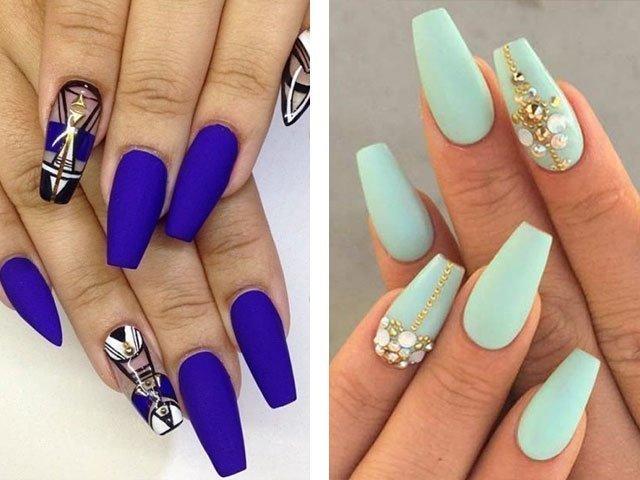Матовые нарощенные ногти дизайн