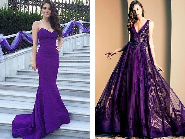 Фиолетовое платье в пол фото