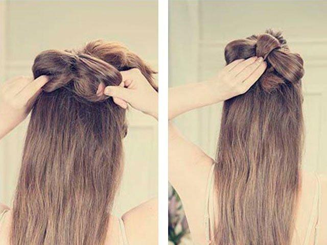 Как сделать бантик из длинного волоса 63