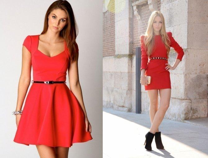 Платье красное с рукавом 2017