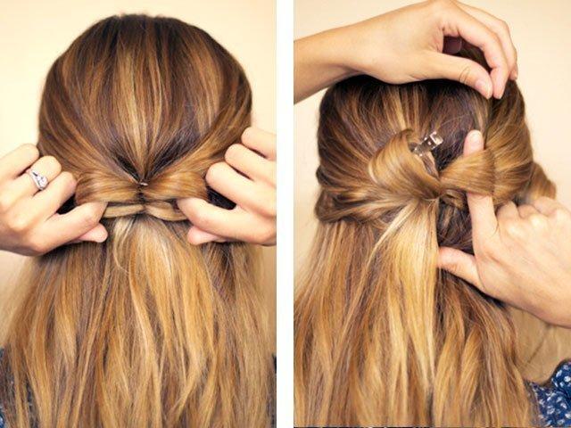 Как сделать бантик из волос на средние волосы 897