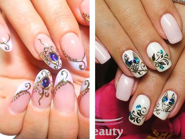 Дизайн ногтей камни