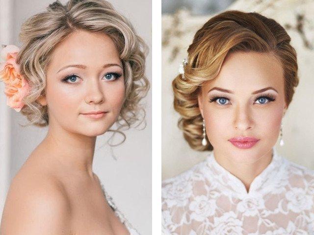 Свадебные прически на средние волосы фото без фаты фото