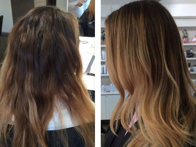 мелирование на черные волосы до и после фото