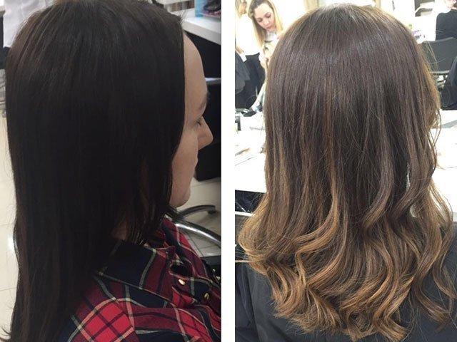 Мелирование на темные волосы до и после фото