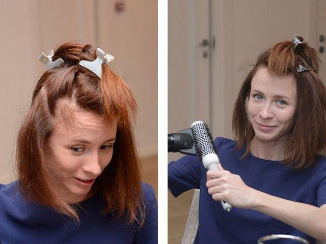 Быстро уложить волосы в домашних условиях средней длины 28