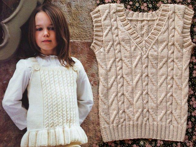схема жилетка для девочки спицами