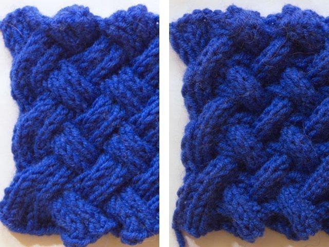 Двусторонний узор спицами для шарфа схема