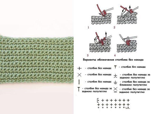 Вязание крючком столбиком без накида 20