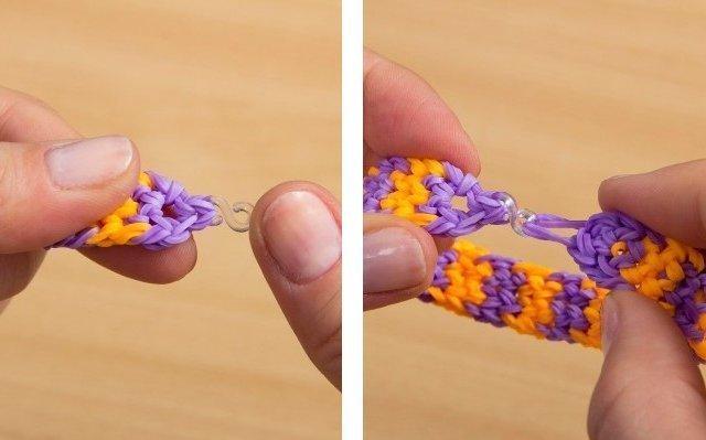 Вязание резиночками на одной вилке