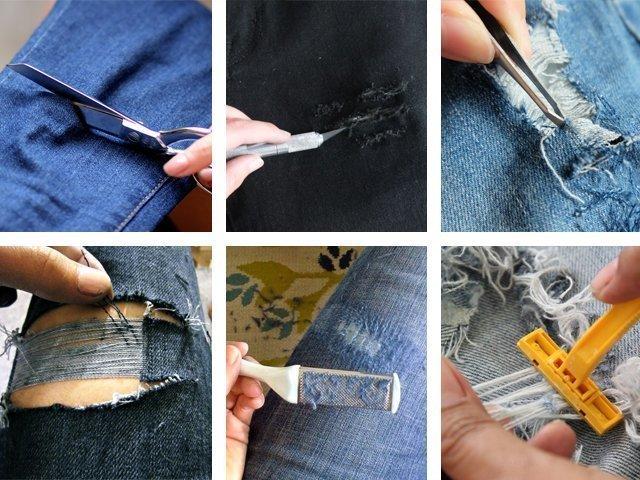 Как сделать маленькие дырки на джинсах своими руками 68