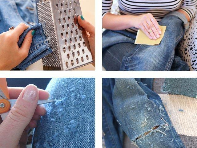 Как сделать маленькие дырки на джинсах своими руками 74